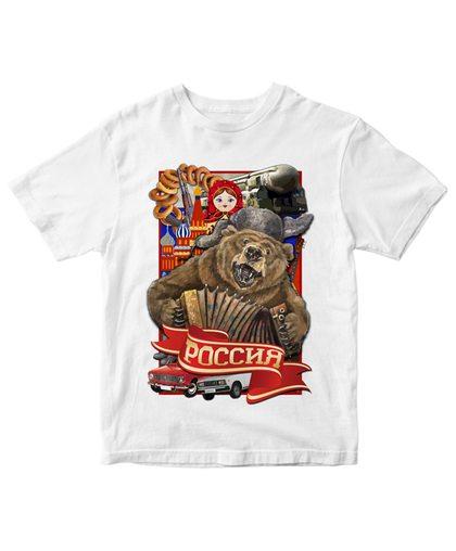 """Белая патриотическая футболка """"Россия"""""""