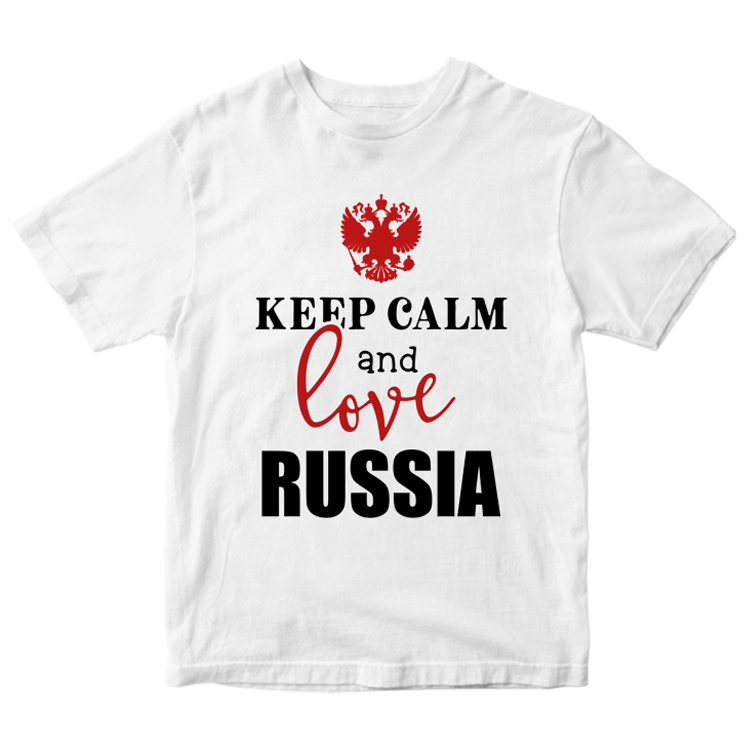 "Белая футболка ""Keep calm and love Russia"""